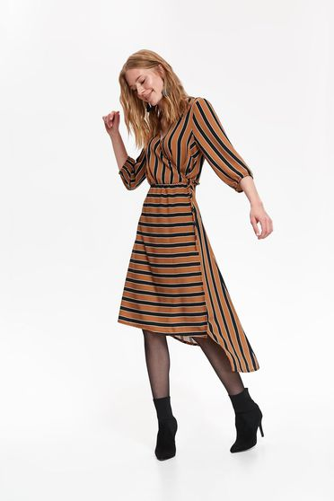 Top Secret lightbrown daily asymmetrical cloche dress with a cleavage thin fabric