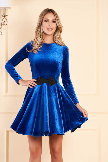 Artista blue dress from velvet with embroidery details cloche occasional