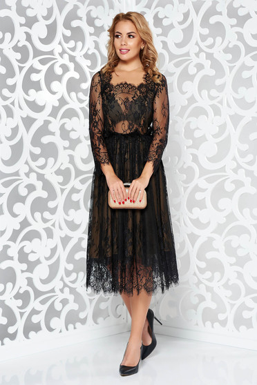 Black luxurious cloche dress from laced fabric with inside lining