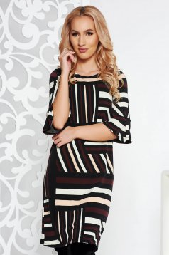 Black daily short cut dress with tented cut thin fabric with geometrical print