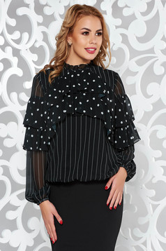 LaDonna black office flared women`s blouse voile fabric with inside lining with ruffle details