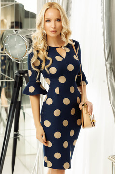 Fofy darkblue office pencil dress slightly elastic fabric with ruffled sleeves