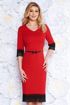 Red elegant pencil dress from elastic fabric with lace details accessorized with belt