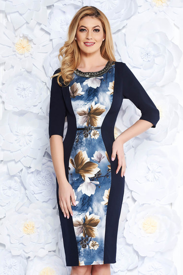 Darkblue elegant midi pencil dress slightly elastic fabric with small beads embellished details