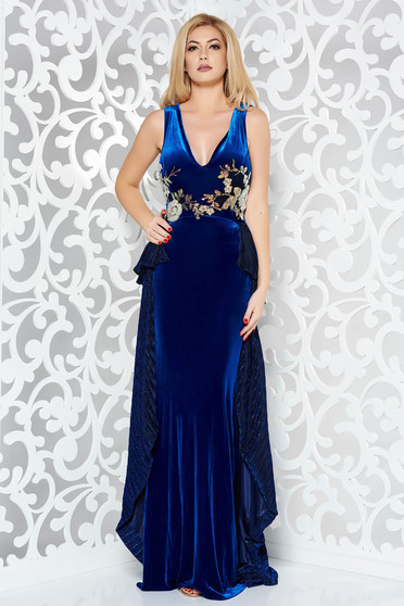 StarShinerS blue occasional mermaid from velvet dress with embroidery details