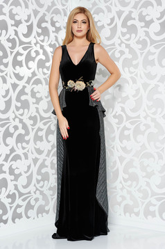 StarShinerS black occasional mermaid from velvet dress with embroidery details