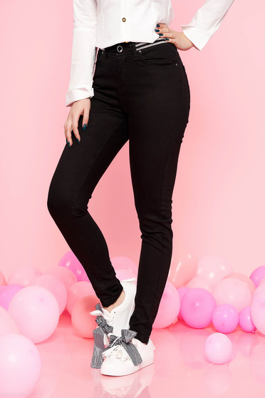 Top Secret black casual trousers slightly elastic cotton high waisted with tented cut with elastic waist