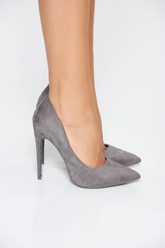 Grey elegant shoes from velvet fabric with high heels slightly pointed toe tip