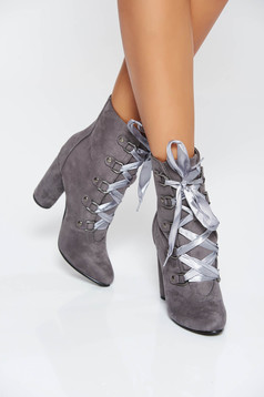 Grey casual from ecological suede ankle boots with lace