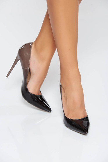 Grey elegant shoes slightly pointed toe tip with high heels from ecological varnished leather