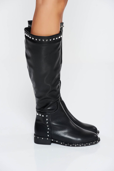 Black casual boots ecological leather with metallic spikes