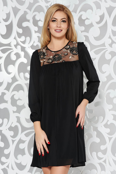 StarShinerS black occasional flared dress voile fabric with inside lining with embroidery details