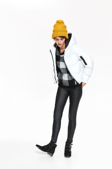 Top Secret white casual from slicker jacket with inside lining with undetachable hood