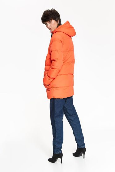 Orange jacket casual midi with pockets with undetachable hood eyelets and zipper fastening
