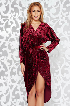 Burgundy occasional wrap around from velvet dress with bright details accessorized with tied waistband