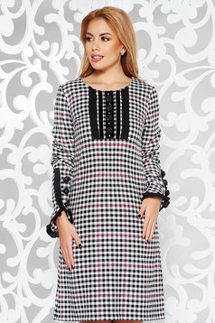 LaDonna black office dress with straight cut from non elastic fabric plaid fabric handmade applications