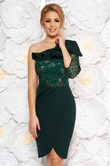 Darkgreen occasional pencil dress slightly elastic fabric with sequin embellished details