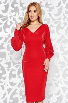 Red elegant pencil dress slightly elastic fabric with inside lining with v-neckline