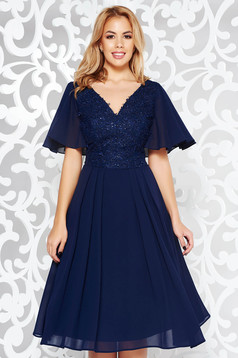 Darkblue occasional cloche dress voile fabric with inside lining lace and sequins details with 3d effect