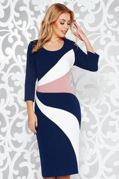 Darkblue office midi pencil dress slightly elastic fabric 3/4 sleeve