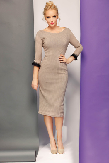 Fofy cream elegant pencil dress knitted fabric with lame thread