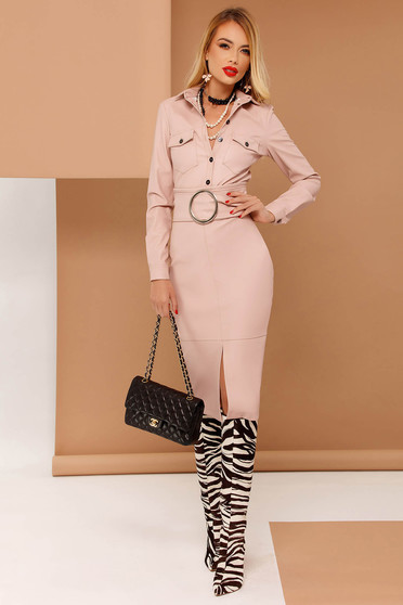 PrettyGirl rosa pencil skirt from ecological leather with inside lining high waisted accessorized with tied waistband