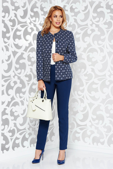 Darkblue office lady set nonelastic cotton with inside lining with medium waist trousers