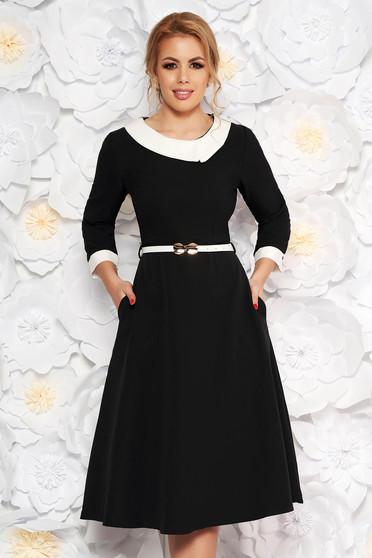 Black elegant cloche dress slightly elastic fabric accessorized with belt
