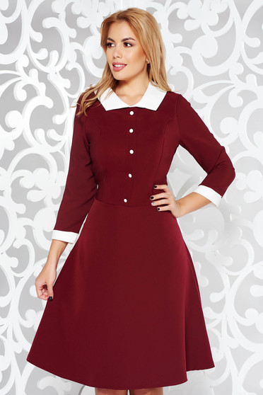 Burgundy office midi cloche dress slightly elastic fabric with inside lining