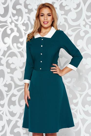 Green office midi cloche dress slightly elastic fabric with inside lining