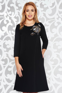 StarShinerS black elegant flared embroidered dress slightly elastic fabric with inside lining with pockets