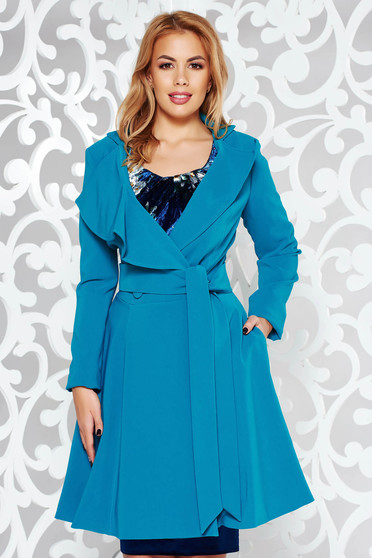 Artista turquoise trenchcoat with inside lining cloche accessorized with tied waistband from non elastic fabric