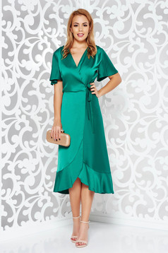 Green occasional wrap around dress non-flexible thin fabric with ruffles at the buttom of the dress