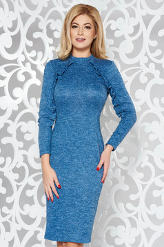 StarShinerS blue daily dress with tented cut knitted fabric with ruffle details