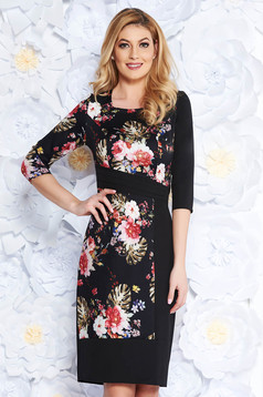 Black elegant pencil dress slightly elastic fabric with floral prints