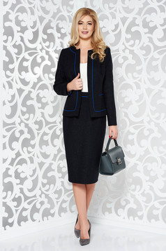 Black office wool lady set with inside lining with a skirt