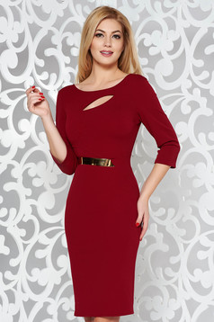 Burgundy elegant pencil dress from elastic fabric cut-out bust design accessorized with tied waistband
