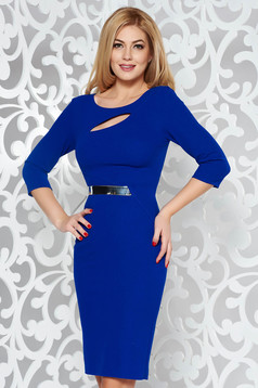 Blue elegant pencil dress from elastic fabric cut-out bust design accessorized with tied waistband