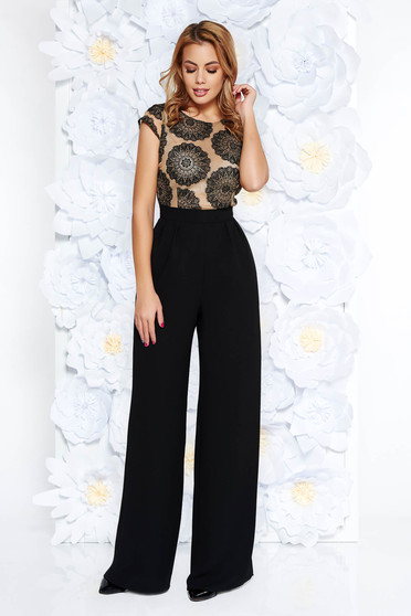 StarShinerS black occasional jumpsuit flaring cut slightly elastic fabric laced short sleeves