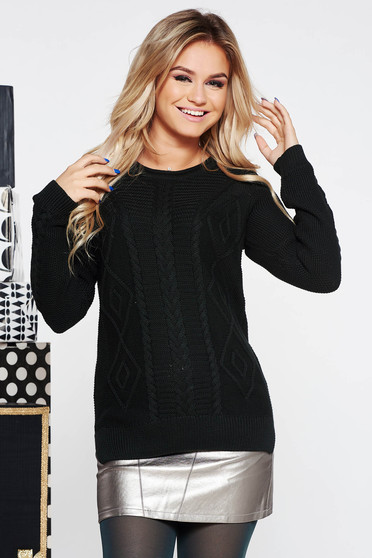 Black casual flared knitted sweater nonelastic cotton