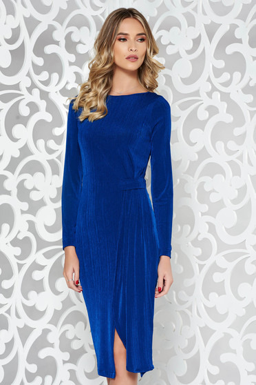 StarShinerS blue occasional dress from elastic fabric with tented cut long sleeve