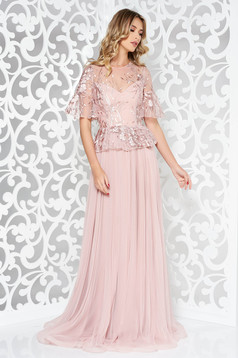 Ana Radu rosa embroidered luxurious cloche dress from tulle from laced fabric with frilled waist long