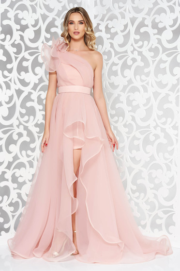 One shoulder Ana Radu rosa dress luxurious with inside lining asymmetrical accessorized with tied waistband