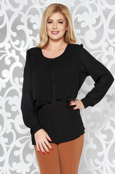Black elegant with easy cut women`s blouse voile fabric large sleeves