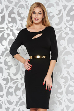 Black elegant pencil dress from elastic fabric cut-out bust design accessorized with tied waistband