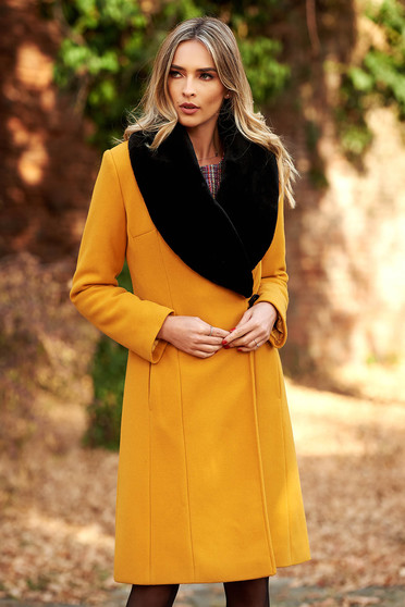 LaDonna mustard elegant wool coat arched cut fur collar