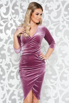 StarShinerS lila occasional pencil dress from velvet with a cleavage