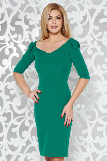 StarShinerS green elegant pencil dress slightly elastic fabric off shoulder 3/4 sleeve with bow accessories