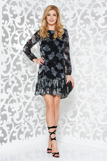 Darkgrey occasional flared dress from velvet fabric raised pattern with ruffles at the buttom of the dress
