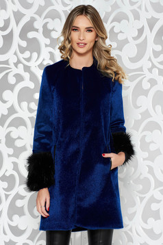 StarShinerS darkblue elegant flared coat from ecological fur with inside lining with pockets